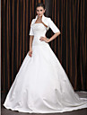 A-line Plus Sizes Wedding Dress - Ivory Chapel Train Spaghetti Straps Satin