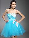 Coquetel / Reuniao de Classe / Baile de Fim de Ano / Baile de Debutante / Feriado Vestido - Curto De Baile Tomara que Caia Curto / Mini