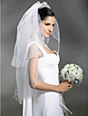 Wedding Veil Two-tier Elbow Veils / Veils for Short Hair Scalloped Edge / Pearl Trim Edge 37.4 in (95cm) Tulle White