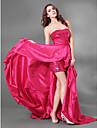 Coquetel / Evento Formal / Baile Militar Vestido - Assimetrico / Brilho & Glitter Linha A Tomara que Caia Cauda Corte Tafeta / Paetes com