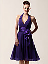 Lanting Bride Knee-length Chiffon Bridesmaid Dress A-line Halter / V-neck Plus Size / Petite with Bow(s) / Sash / Ribbon