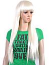 Capless extra lång högsta kvalitet kvalitet syntetiskt vitt rakt hår peruk