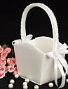 Blumen-Maedchen-Korb mit Elfenbein Satin mit Perlen aufgereiht handhaben