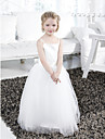 Ball Gown Floor-length Flower Girl Dress - Satin / Tulle Sleeveless Spaghetti Straps with Draping / Ruffles / Sash / Ribbon