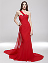 TS Couture® Formal Evening / Military Ball Dress - Open Back Plus Size / Petite Trumpet / Mermaid One Shoulder Sweep / Brush Train Chiffon withSide
