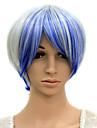 sin tapa resistente al calor azul mezclado peluca blanca fiesta de disfraces
