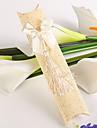 fildeș ondulat hârtie perna cutie favoare cu ciucure (set de 12)
