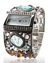 Ceas Brățară de Damă, Argintiu, Decorat cu Minunate Diamante Multicolore