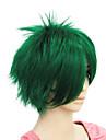 Capless kort grön rakt syntetiskt hår peruk två färger att välja