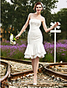 Trumpet/Mermaid Plus Sizes Wedding Dress - Ivory Knee-length Strapless Satin/Lace