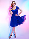 Homecoming Cocktail Party Dress - Royal Blue Plus Sizes A-line/Princess Off-the-shoulder/Sweetheart Knee-length Chiffon/Stretch Satin