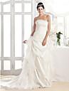 Lanting A-line Strapless Court Train Organza And Taffeta Wedding Dress