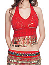 Belly Dance Tops Women\'s Performance Polyester Beading / Coins Blue / Fuchsia / Pink / Purple / Red / White / YellowBelly Dance /