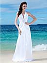 LAN TING BRIDE Sheath / Column Wedding Dress - Chic & Modern Reception See-Through Floor-length V-neck Charmeuse with Beading Side-Draped