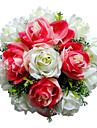 """Flori de Nuntă Rotund Trandafiri Buchete Nuntă Satin Roșu 11.02""""(Approx.28cm)"""
