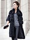 Turndown Collar Half Sleeve Fox Fur/Lamb Fur Party Coat