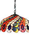 Tiffany Pendant Light with 2 Light in Peacock Feather Patterned Shade