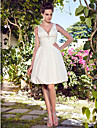 Lanting Bride® A-line Petite / Plus Sizes Wedding Dress - Chic & Modern / Reception Little White Dresses Knee-length Halter Taffeta with