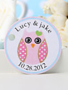 Personalized Favor Tag - Pink Owl (Set of 36)