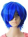 Capless högsta kvalitet kvalitet syntetiskt blå färg kort hår peruk