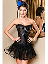 Satin With Rhinestone Strapless Front Busk Closure Shapewear Sexy Lingerie Shaper