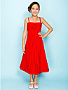 Tea-length Chiffon Junior Bridesmaid Dress A-line / Princess Spaghetti Straps Empire with Draping / Flower(s) / Side Draping / Ruching