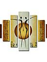 HANDMÅLAD Abstrakt / Människor Mer än fem paneler Kanvas Hang målad oljemålning For Hem-dekoration