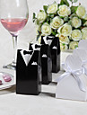 Classic Bride & Groom Favor Box With Organza Ribbon (Set of 12)