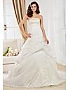 Lanting Bride® Balkjole Timeglas / Pære / Petit / Æble / Omvendt Trekant / Rektangel / Missere / Plus Størrelser Brudekjole - Klassisk og