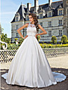 Ball Gown Plus Sizes Wedding Dress - Ivory Chapel Train Jewel Satin