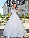 Lanting Bride® A-line Petite / Plus Sizes Wedding Dress - Classic & Timeless Vintage Inspired Floor-length Scoop Lace / Taffeta with