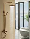Antique Systeme de douche Douche pluie Douchette inclue with  Soupape ceramique Deux poignees trois trous for  Laiton Antique , Robinet