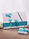 Guest Book / Pen Set Satin Floral ThemeWithBow