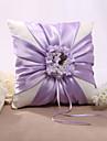 Lilac Floral Design Satin Wedding Ring Pillow