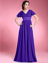 Lanting Bride A-line Plus Size / Petite Mother of the Bride Dress Floor-length Short Sleeve Chiffon withBeading / Draping / Pleats /