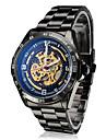 Men's Auto-Mechanical Hollow Dial Black Steel Band Wrist Watch Cool Watch Unique Watch