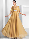 A-linje/Prinsesse V-hals - Formell Aften/Militaerball Dress - Gull Gulvlengde Chiffon Plus Sizes