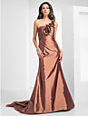 TS Couture Formal Evening Military Ball Dress - Open Back Trumpet / Mermaid One Shoulder Court Train Taffeta withFlower(s) Ruffles Criss