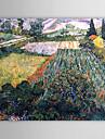 Berömda oljemålningen A-fältet-med-vallmor av Van Gogh