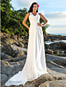 Lanting Bride® A-line Petite / Plus Sizes Wedding Dress - Chic & Modern Open Back Court Train V-neck Chiffon withSequin / Beading /