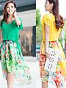 De las mujeres Corte Swing Vestido Casual Floral Hasta la Rodilla Escote Redondo Raso