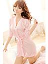 kvinnors sexig djup v ren färg sidennattkläder