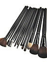 15PCS Black Handle Makeup Brush Kits With Black Leather Pouch