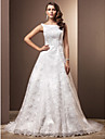 Lanting Bride A-line Petite / Plus Sizes Wedding Dress-Chapel Train Scoop Lace