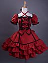 שמלת שרוול קצר באורך ברך יין אדום כותנה שחורה חתוכה לוליטה גותית