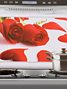 75x45cm Red Rose Pattern Oljebeständig Vattentät Kitchen Wall Sticker