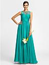 Lanting Bride® Floor-length Chiffon / Tulle Bridesmaid Dress - Sheath / Column Bateau with Beading / Criss Cross