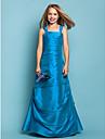 Lanting Bride Floor-length Taffeta Junior Bridesmaid Dress A-line / Princess Straps Dropped with Side Draping