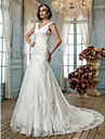 Sirena / trompeta regina anne curte de curte tul rochie de mireasa cu buton aplicatii buton de lan ting bride®