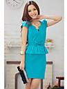 Femei Stand gât prova montate mânecă scurtă rochie mini